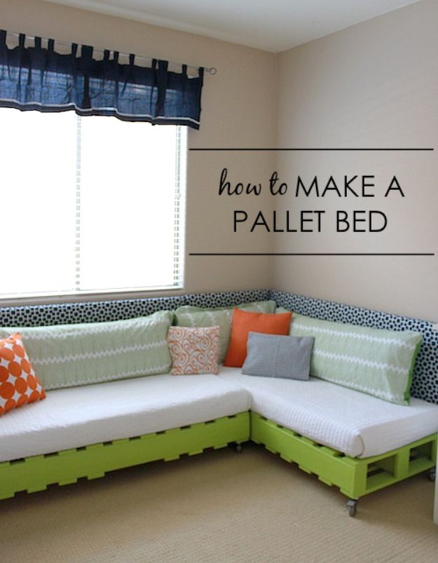 DIY Bed Frames - Kid's Pallet Bed - How To Make a Headboard - Do It Yourself Projects for Platform Beds, Twin, King, Queen and Full Bed - Kids Rooms, Drawers and Storage Units, Bookshelf step by step tutorial free plans