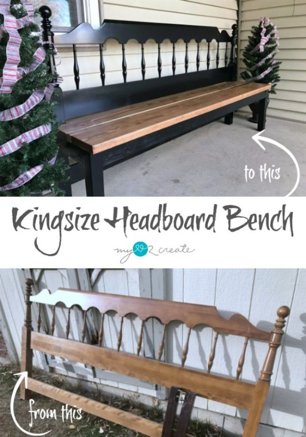 DIY Outdoor Furniture - Kingsize Headboard Bench - Cheap and Easy Ideas for Patio and Porch Seating and Tables, Chairs, Sofas - How To Make Outdoor Furniture Projects on A Budget - Fmaily Friendly Decor Kids Love - Quick Projects to Make This Weekend - Swings, Pallet Tables, End Tables, Rocking Chairs, Daybeds and Benches http://diyjoy.com/diy-outdoor-furniture