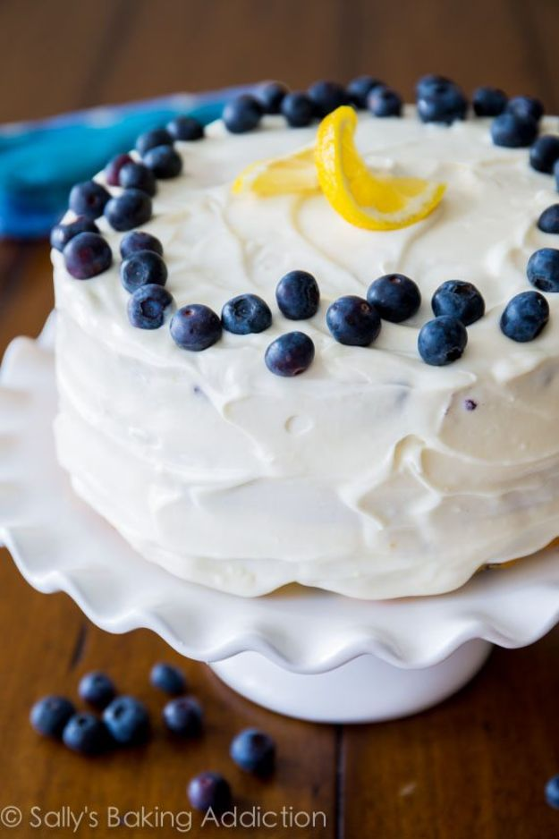 DIY Birthday Cakes - Lemon Blueberry Layer Cake - How To Make A Birthday Cake With Step by Step Tutorial - Bake Homemade Cakes for Special Occasions and Birthdays With These Best Birthday Cake Recipes - Fancy Chocolate, Basic Vanilla Buttercream easy cakes recipes birthdays