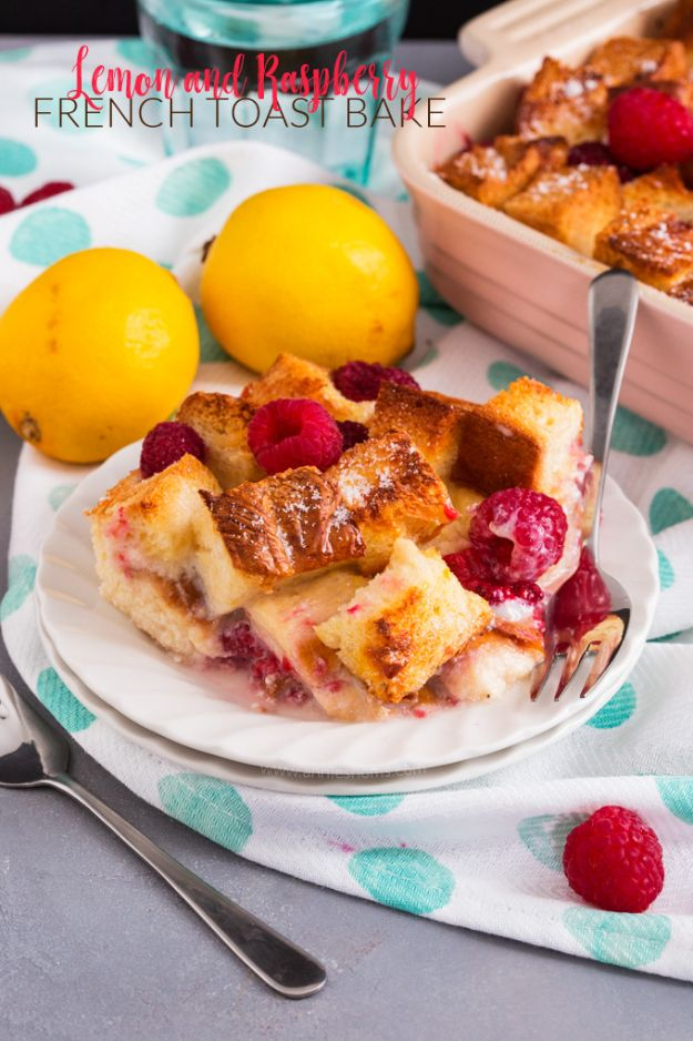 French Toast Recipes - Lemon and Raspberry French Toast Bake - Best Brunch Bites and Breakfast Ideas for French Toast - Stuffed, Baked and Creme Brulee Toasts With Fruit - Healthy Sugar Free, Gluten Free and Keto Versions - Casserole Ideas for Parties and Feeding A Crowd, Sticks and Overnight Prep - How To Make French Toast Perfectly, Classic Powdered Sugar French Toast Recipe http://diyjoy.com/french-toast-recipes