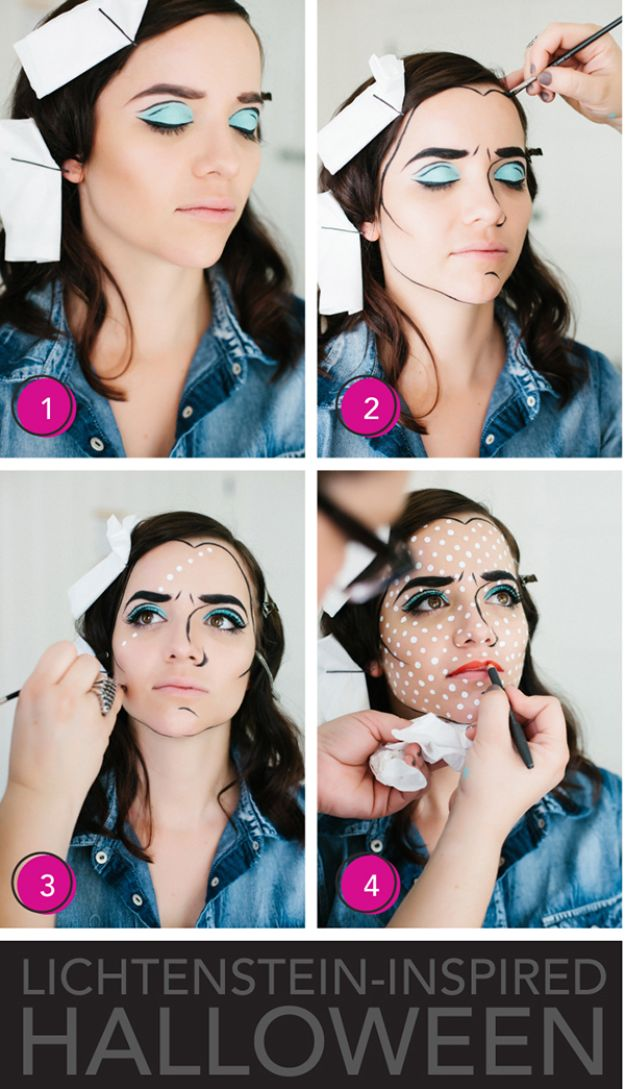 Best Halloween Makeup Tutorials - Lichtenstein Inspired Halloween Makeup - Easy Makeup Tips and Tutorial Ideas for The Best Halloween Costume - Animals, Eyes, Creative Faces, Simple and Scary Ghosts, Skeletons and Creatures - Zombie Makeup, Cute Looks, DIY Vampire, Gypsy, Mermaid and Creepy Sugar Skull, Cool Glam Looks for A Halloween Party and Instagram Photos - Ideas for Couples and Kids http://diyjoy.com/best-halloween-makeup-tutorials
