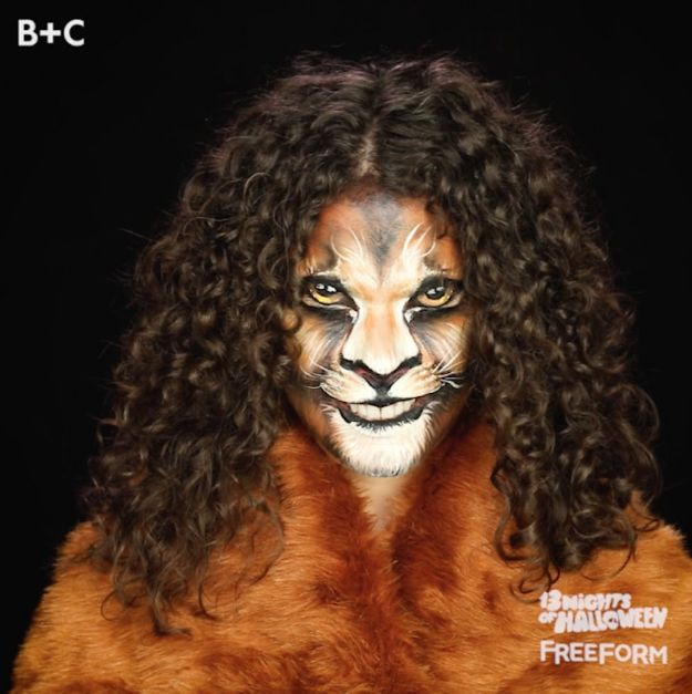 Best Halloween Makeup Tutorials - Lion Makeup Transformation - Easy Makeup Tips and Tutorial Ideas for The Best Halloween Costume - Animals, Eyes, Creative Faces, Simple and Scary Ghosts, Skeletons and Creatures - Zombie Makeup, Cute Looks, DIY Vampire, Gypsy, Mermaid and Creepy Sugar Skull, Cool Glam Looks for A Halloween Party and Instagram Photos - Ideas for Couples and Kids http://diyjoy.com/best-halloween-makeup-tutorials