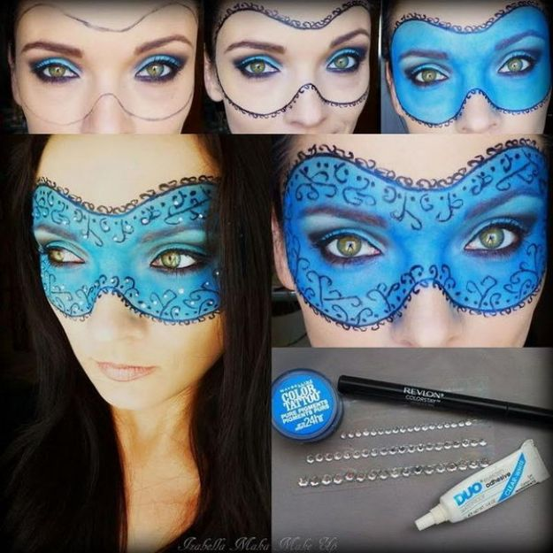 Best Halloween Makeup Tutorials - Masquerade Mask - Easy Makeup Tips and Tutorial Ideas for The Best Halloween Costume - Animals, Eyes, Creative Faces, Simple and Scary Ghosts, Skeletons and Creatures - Zombie Makeup, Cute Looks, DIY Vampire, Gypsy, Mermaid and Creepy Sugar Skull, Cool Glam Looks for A Halloween Party and Instagram Photos - Ideas for Couples and Kids http://diyjoy.com/best-halloween-makeup-tutorials