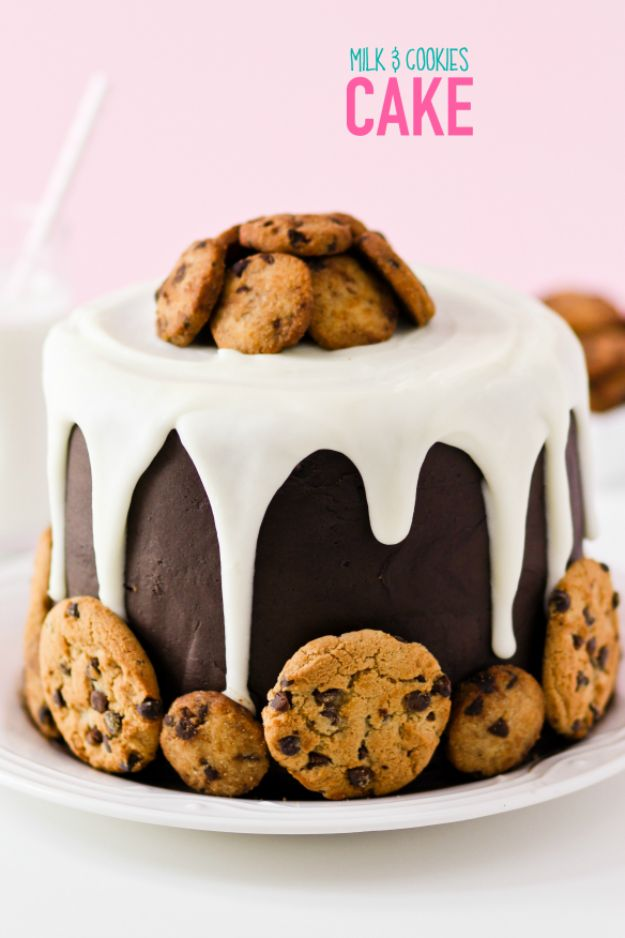 DIY Birthday Cakes - Milk and Cookies Cake - How To Make A Birthday Cake With Step by Step Tutorial - Bake Homemade Cakes for Special Occasions and Birthdays With These Best Birthday Cake Recipes - Fancy Chocolate, Basic Vanilla Buttercream easy cakes recipes birthdays