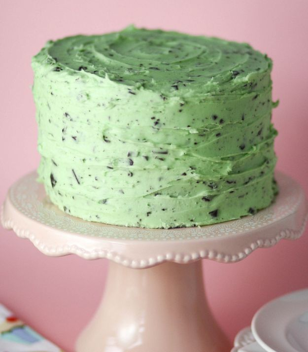 DIY Birthday Cakes - Mint Chocolate Chip Cake - How To Make A Birthday Cake With Step by Step Tutorial - Bake Homemade Cakes for Special Occasions and Birthdays With These Best Birthday Cake Recipes - Fancy Chocolate, Basic Vanilla Buttercream easy cakes recipes birthdays