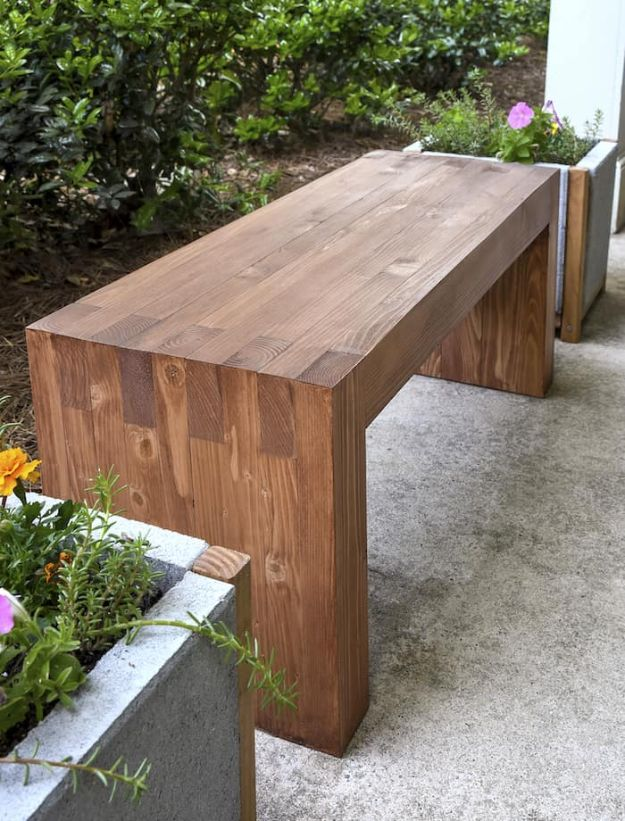 DIY Outdoor Furniture - Modern DIY Outdoor Bench - Cheap and Easy Ideas for Patio and Porch Seating and Tables, Chairs, Sofas - How To Make Outdoor Furniture Projects on A Budget - Fmaily Friendly Decor Kids Love - Quick Projects to Make This Weekend - Swings, Pallet Tables, End Tables, Rocking Chairs, Daybeds and Benches