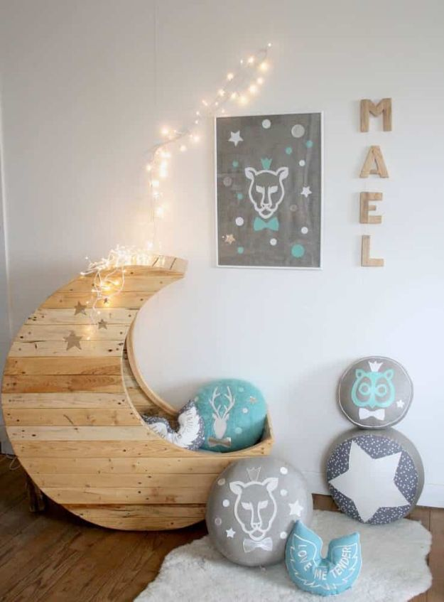 DIY Nursery Decor - Moon Cradle Made Out Of Wooden Pallets - Easy Projects to Make for Baby Room - Decorations for Boy and Girl Rooms, Unisex, Minimalist and Modern Nurseries and Rustic, Farmhouse Style - All White, Pink, Blue, Yellow and Green - Cribs, Bedding, Wall Art and Hangings, Rocking Chairs, Pillows, Changing Tables, Storage and Bassinet for Baby http://diyjoy.com/diy-nursery-decor