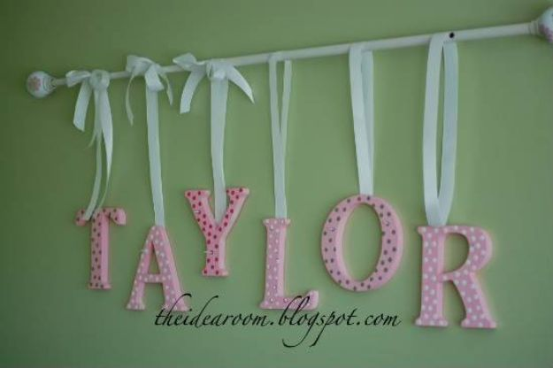 DIY Nursery Decor - Name Wall Hanging - Easy Projects to Make for Baby Room - Decorations for Boy and Girl Rooms, Unisex, Minimalist and Modern Nurseries and Rustic, Farmhouse Style - All White, Pink, Blue, Yellow and Green - Cribs, Bedding, Wall Art and Hangings, Rocking Chairs, Pillows, Changing Tables, Storage and Bassinet for Baby http://diyjoy.com/diy-nursery-decor