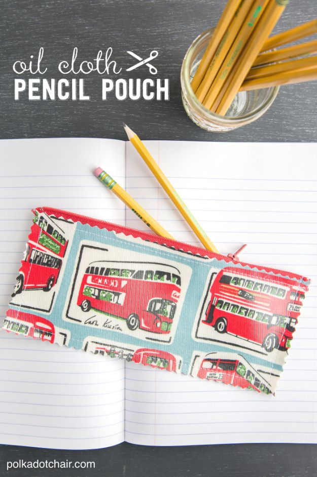 Sewing Projects for Beginners - Oilcloth Pencil Pouch - Easy Sewing Project Ideas and Free Patterns for Basic Clothing, Kids Clothes, Quick Baby Gifts, DIY Bags, Sewing Crafts to Make and Sell on Etsy - Scarf Tutorial, Blankets, Stuffed Animals, Home Decor and Linens, Curtains and Bedding, Hand Sewn and Maching Made Items That You Can Sew For Cute Christmas Presents - Creative Sewing Craft Ideas for Women and Men http://diyjoy.com/sewing-projects-for-beginners