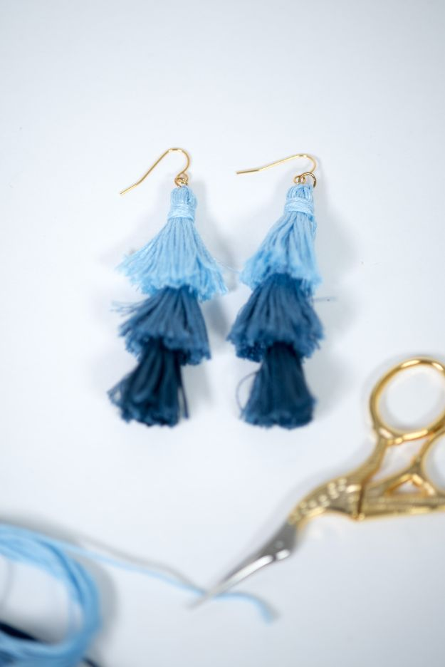 DIY Earrings - Ombre Stacked Tassel Earrings - Easy Earring Projects for Studs, Dangle, Hoops, Tassel, Wire Wrap Beads and Handmade Cuff - Vintage, Boho, Beaded, Leather, Fabric andCrochet Ideas - Cheap Gifts for Her - Homemade Jewelry Tutorials With Step By Step Instructions