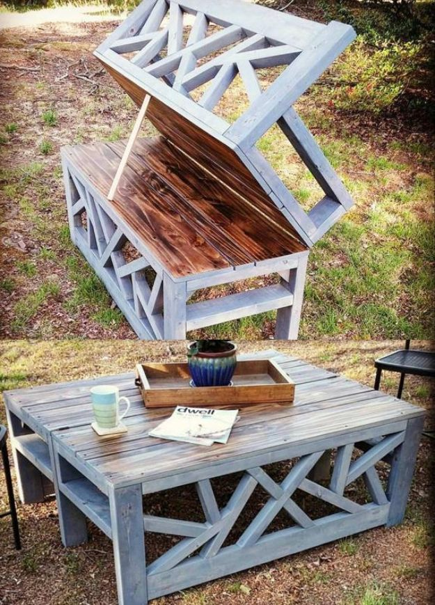 DIY Outdoor Furniture - Outdoor Convertible Coffee Table and Bench - Cheap and Easy Ideas for Patio and Porch Seating and Tables, Chairs, Sofas - How To Make Outdoor Furniture Projects on A Budget - Fmaily Friendly Decor Kids Love - Quick Projects to Make This Weekend - Swings, Pallet Tables, End Tables, Rocking Chairs, Daybeds and Benches http://diyjoy.com/diy-outdoor-furniture