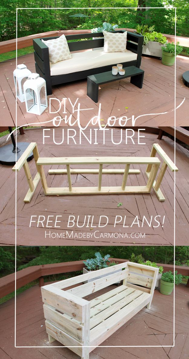 DIY Patio Furniture Ideas - Outdoor Furniture - Cheap Do It Yourself Porch and Easy Backyard Furniture, Rocking Chairs, Swings, Benches, Stools and Seating Tutorials - Dining Tables from Pallets, Cinder Blocks and Upcyle Ideas - Sectional Couch Plans With Cushions - Makeover Tips for Existing Furniture #diyideas #outdoors #diy #backyardideas #diyfurniture #patio #diyjoy http://diyjoy.com/diy-patio-furniture-ideas