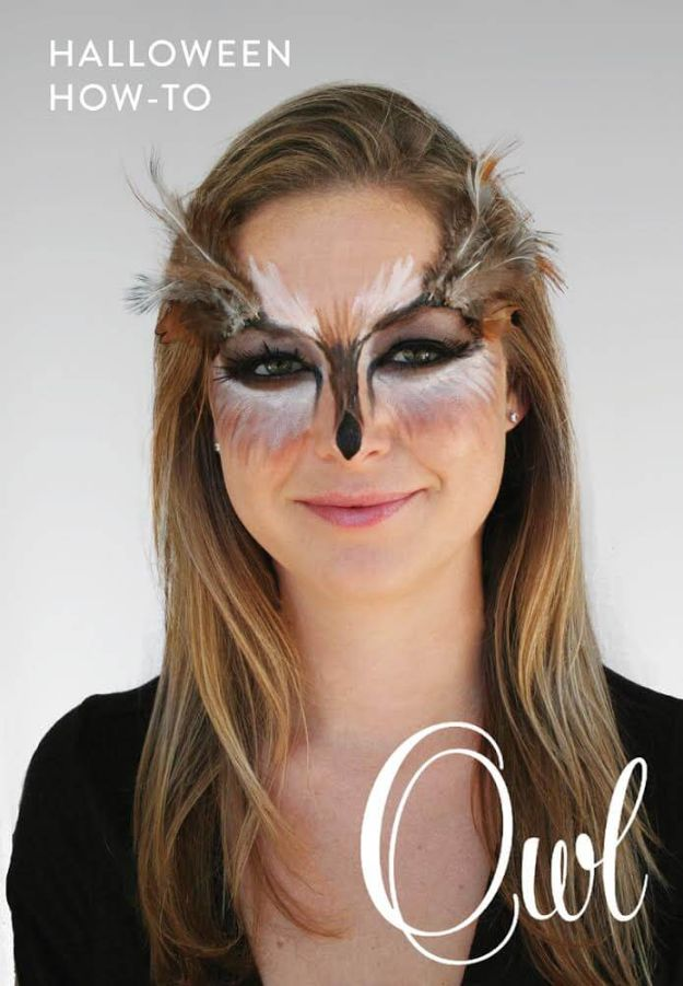 Best Halloween Makeup Tutorials - Owl Makeup - Easy Makeup Tips and Tutorial Ideas for The Best Halloween Costume - Animals, Eyes, Creative Faces, Simple and Scary Ghosts, Skeletons and Creatures - Zombie Makeup, Cute Looks, DIY Vampire, Gypsy, Mermaid and Creepy Sugar Skull, Cool Glam Looks for A Halloween Party and Instagram Photos - Ideas for Couples and Kids http://diyjoy.com/best-halloween-makeup-tutorials