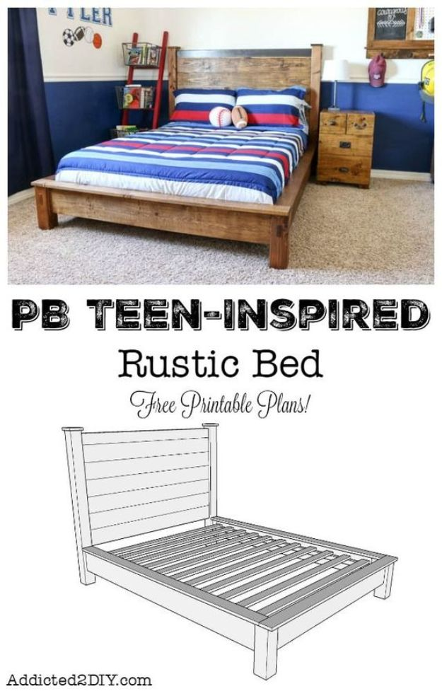 DIY Bed Frames - PB Teen-Inspired Double Bed - How To Make a Headboard - Do It Yourself Projects for Platform Beds, Twin, King, Queen and Full Bed - Kids Rooms, Drawers and Storage Units, Bookshelf step by step tutorial free plans