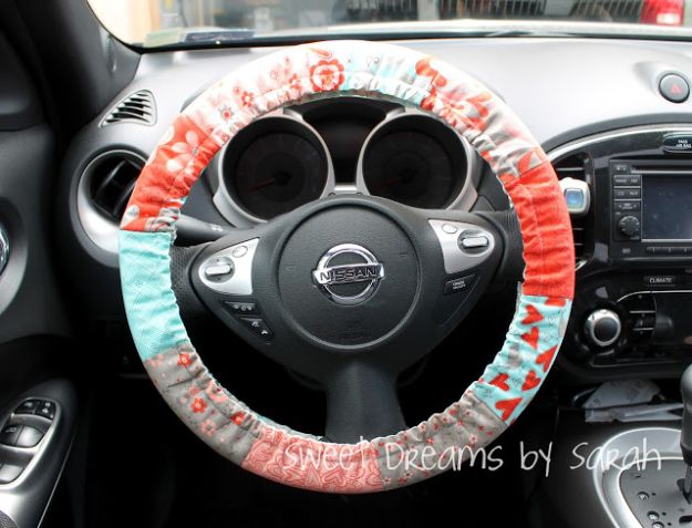 Sewing Projects for Beginners - Padded Steering Wheel Cover - Easy Sewing Project Ideas and Free Patterns for Basic Clothing, Kids Clothes, Quick Baby Gifts, DIY Bags, Sewing Crafts to Make and Sell on Etsy - Scarf Tutorial, Blankets, Stuffed Animals, Home Decor and Linens, Curtains and Bedding, Hand Sewn and Maching Made Items That You Can Sew For Cute Christmas Presents - Creative Sewing Craft Ideas for Women and Men http://diyjoy.com/sewing-projects-for-beginners