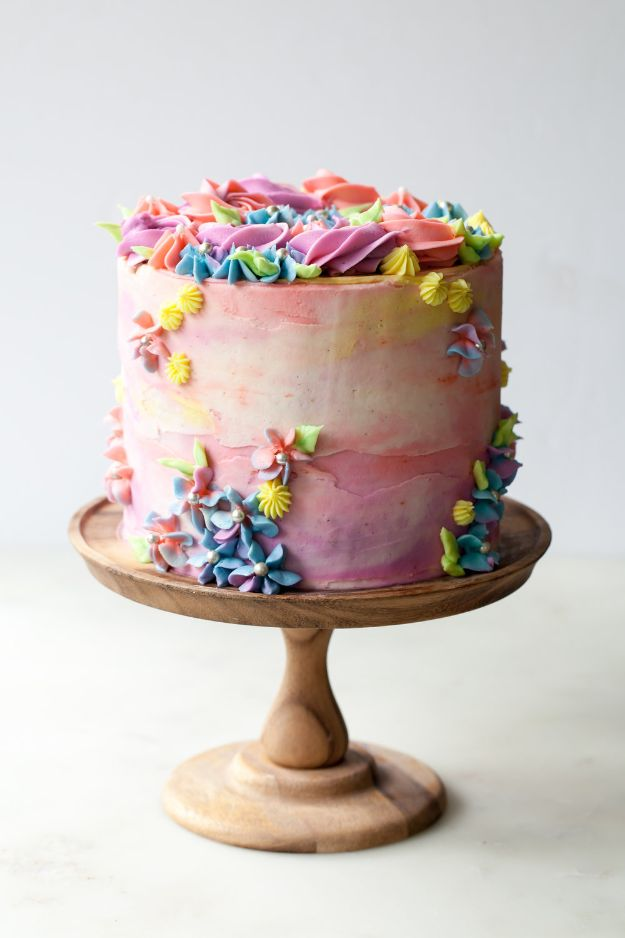 DIY Birthday Cakes - Pastel Buttercream Sprinkle Birthday Cake - How To Make A Birthday Cake With Step by Step Tutorial - Bake Homemade Cakes for Special Occasions and Birthdays With These Best Birthday Cake Recipes - Fancy Chocolate, Basic Vanilla Buttercream easy cakes recipes birthdays