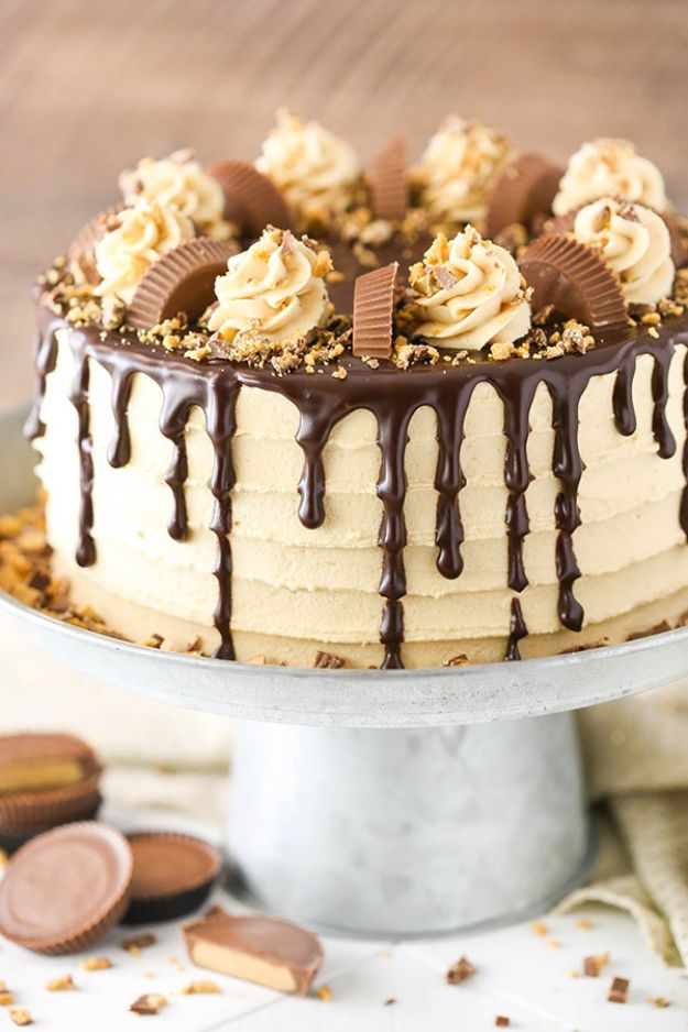 DIY Birthday Cakes - Peanut Butter Chocolate Layer Cake - How To Make A Birthday Cake With Step by Step Tutorial - Bake Homemade Cakes for Special Occasions and Birthdays With These Best Birthday Cake Recipes - Fancy Chocolate, Basic Vanilla Buttercream easy cakes recipes birthdays