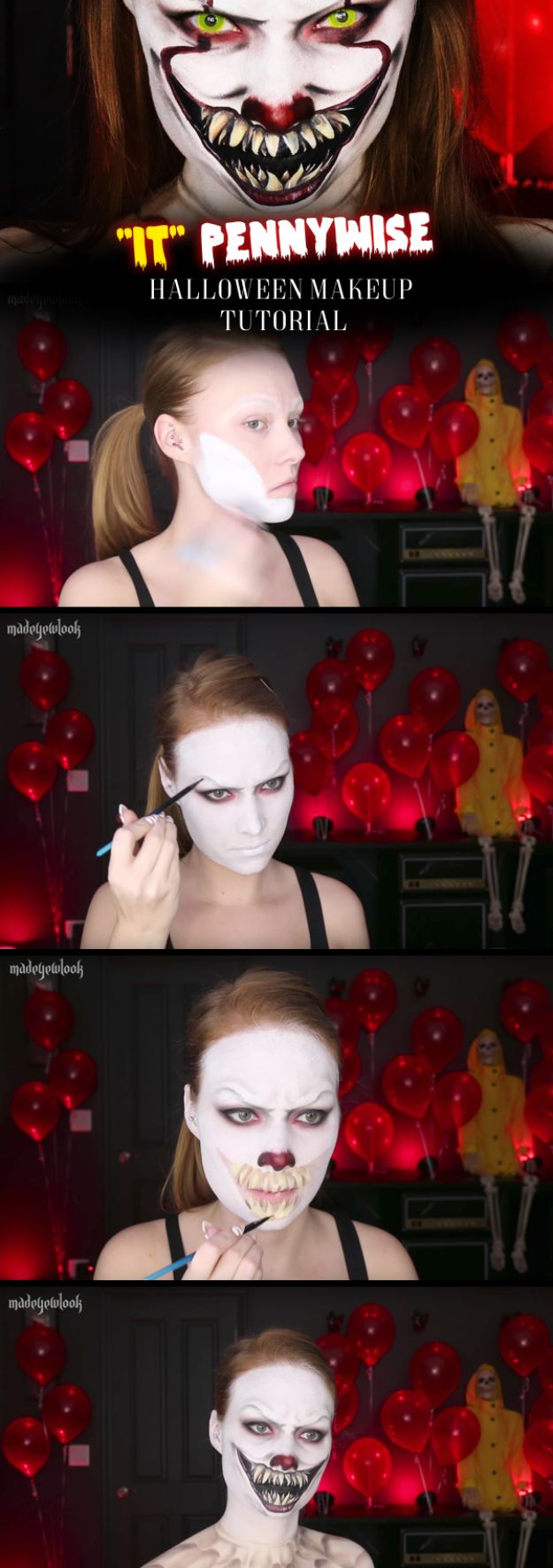 Best Halloween Makeup Tutorials - Pennywise Makeup - Easy Makeup Tips and Tutorial Ideas for The Best Halloween Costume - Animals, Eyes, Creative Faces, Simple and Scary Ghosts, Skeletons and Creatures - Zombie Makeup, Cute Looks, DIY Vampire, Gypsy, Mermaid and Creepy Sugar Skull, Cool Glam Looks for A Halloween Party and Instagram Photos - Ideas for Couples and Kids http://diyjoy.com/best-halloween-makeup-tutorials