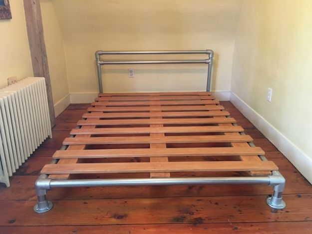 DIY Bed Frames - Pipe and Flange Bed Frame - How To Make a Headboard - Do It Yourself Projects for Platform Beds, Twin, King, Queen and Full Bed - Kids Rooms, Drawers and Storage Units, Bookshelf step by step tutorial free plans