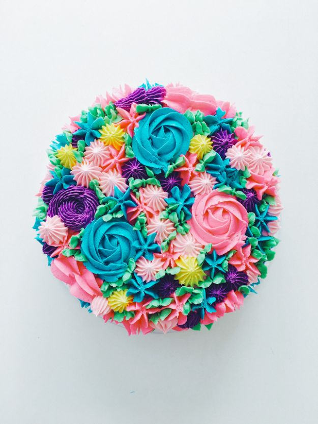 DIY Birthday Cakes - Piped Rainbow Buttercream Flower Cake - How To Make A Birthday Cake With Step by Step Tutorial - Bake Homemade Cakes for Special Occasions and Birthdays With These Best Birthday Cake Recipes - Fancy Chocolate, Basic Vanilla Buttercream easy cakes recipes birthdays
