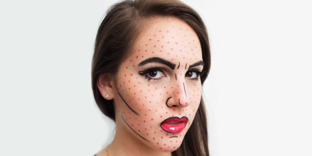 Best Halloween Makeup Tutorials - Pop Art Cartoon Makeup - Easy Makeup Tips and Tutorial Ideas for The Best Halloween Costume - Animals, Eyes, Creative Faces, Simple and Scary Ghosts, Skeletons and Creatures - Zombie Makeup, Cute Looks, DIY Vampire, Gypsy, Mermaid and Creepy Sugar Skull, Cool Glam Looks for A Halloween Party and Instagram Photos - Ideas for Couples and Kids http://diyjoy.com/best-halloween-makeup-tutorials