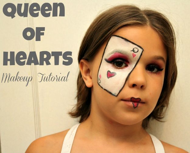 Best Halloween Makeup Tutorials - Queen of Hearts Makeup - Easy Makeup Tips and Tutorial Ideas for The Best Halloween Costume - Animals, Eyes, Creative Faces, Simple and Scary Ghosts, Skeletons and Creatures - Zombie Makeup, Cute Looks, DIY Vampire, Gypsy, Mermaid and Creepy Sugar Skull, Cool Glam Looks for A Halloween Party and Instagram Photos - Ideas for Couples and Kids http://diyjoy.com/best-halloween-makeup-tutorials