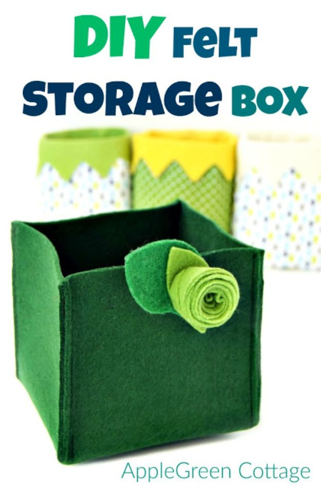 Sewing Projects for Beginners - Quick DIY Felt Storage Box - Easy Sewing Project Ideas and Free Patterns for Basic Clothing, Kids Clothes, Quick Baby Gifts, DIY Bags, Sewing Crafts to Make and Sell on Etsy - Scarf Tutorial, Blankets, Stuffed Animals, Home Decor and Linens, Curtains and Bedding, Hand Sewn cute christmas gifts to sew