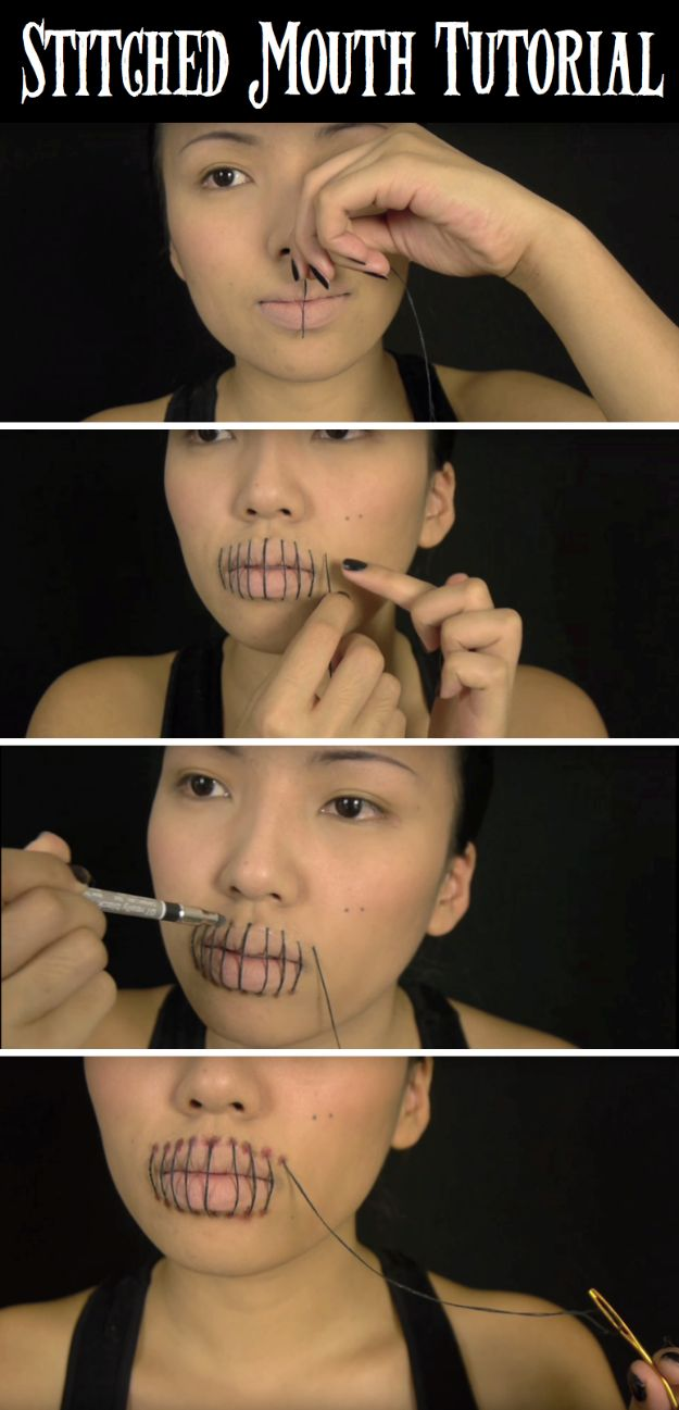 Best Halloween Makeup Tutorials - Quick Stitched Mouth Halloween Makeup - Easy Makeup Tips and Tutorial Ideas for The Best Halloween Costume - Animals, Eyes, Creative Faces, Simple and Scary Ghosts, Skeletons and Creatures - Zombie Makeup, Cute Looks, DIY Vampire, Gypsy, Mermaid and Creepy Sugar Skull, Cool Glam Looks for A Halloween Party and Instagram Photos - Ideas for Couples and Kids http://diyjoy.com/best-halloween-makeup-tutorials