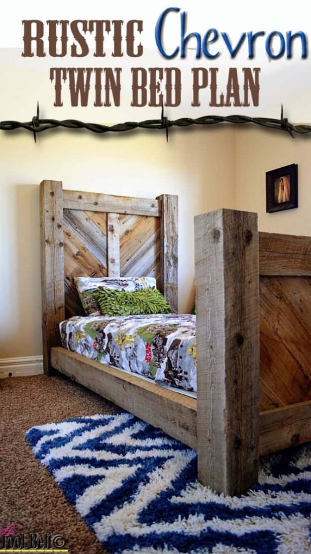 DIY Bed Frames - Rustic Chevron Barnwood Twin Bed - How To Make a Headboard - Do It Yourself Projects for Platform Beds, Twin, King, Queen and Full Bed - Kids Rooms, Drawers and Storage Units, Bookshelf step by step tutorial free plans