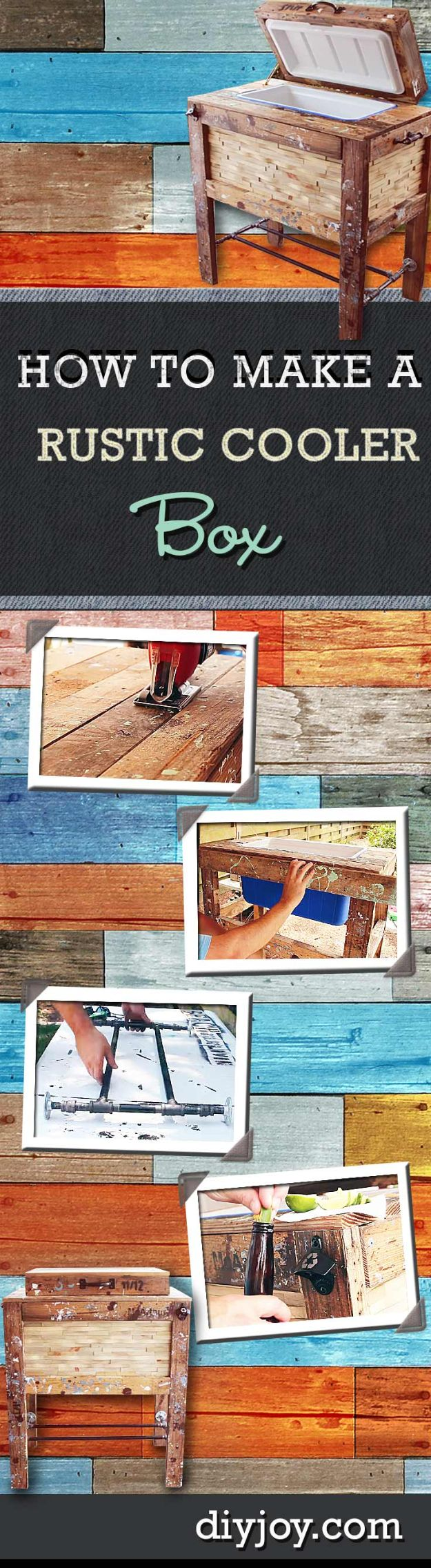 DIY Outdoor Furniture - Rustic Cooler Box - Cheap and Easy Ideas for Patio and Porch Seating and Tables, Chairs, Sofas - How To Make Outdoor Furniture Projects on A Budget - Fmaily Friendly Decor Kids Love - Quick Projects to Make This Weekend - Swings, Pallet Tables, End Tables, Rocking Chairs, Daybeds and Benches http://diyjoy.com/diy-outdoor-furniture