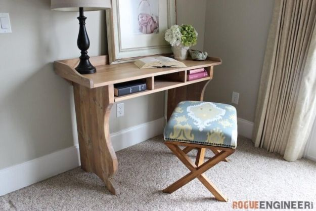 DIY Desks - Sicily Writing Desk - Easy To Make Do It Yourself Desk Projects With Step by Step tutorials - Rustic Wood Pallet, Farmhouse Style Furniture, Modern Design and Upcycling Makeover Project Plans - Standing Computer Desks, Ideas for Small Spaces and Home Office - Cheap Desks With Built In Organization, With Storage, With Hutch and Filing Cabinets DIY Desks - DIY Standing Desk Transformation - Easy To Make Do It Yourself Desk Projects With Step by Step tutorials - Rustic Wood Pallet, Farmhouse Style Furniture, Modern Design and Upcycling Makeover Project Plans - Standing Computer Desks, Ideas for Small Spaces and Home Office - Cheap Desks With Built In Organization, With Storage, With Hutch and Filing Cabinets