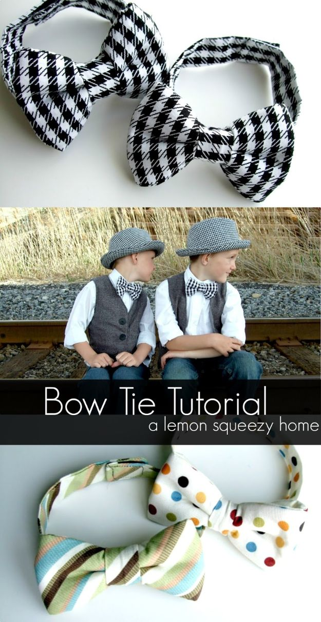 Sewing Projects for Beginners - Simple Bow Tie - Easy Sewing Project Ideas and Free Patterns for Basic Clothing, Kids Clothes, Quick Baby Gifts, DIY Bags, Sewing Crafts to Make and Sell on Etsy - Scarf Tutorial, Blankets, Stuffed Animals, Home Decor and Linens, Curtains and Bedding, Hand Sewn cute christmas gifts to sew