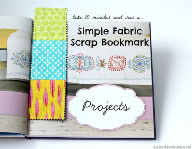 Sewing Projects for Beginners - Simple Fabric Scrap Bookmark - Easy Sewing Project Ideas and Free Patterns for Basic Clothing, Kids Clothes, Quick Baby Gifts, DIY Bags, Sewing Crafts to Make and Sell on Etsy - Scarf Tutorial, Blankets, Stuffed Animals, Home Decor and Linens, Curtains and Bedding, Hand Sewn and Maching Made Items That You Can Sew For Cute Christmas Presents - Creative Sewing Craft Ideas for Women and Men http://diyjoy.com/sewing-projects-for-beginners