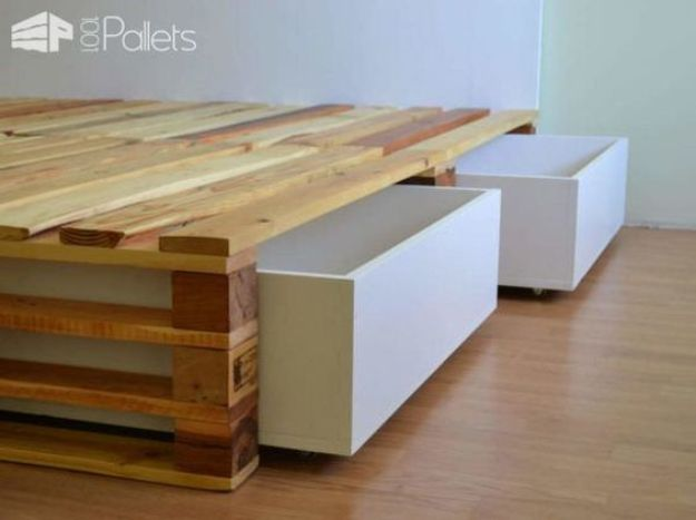 DIY Bed Frames - Simple Pallets Bed - How To Make a Headboard - Do It Yourself Projects for Platform Beds, Twin, King, Queen and Full Bed - Kids Rooms, Drawers and Storage Units, Bookshelf step by step tutorial free plans