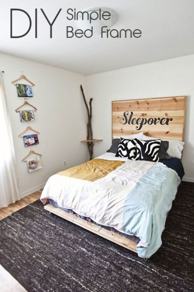 DIY Bed Frames - Simple Pine Board Bed Frame - How To Make a Headboard - Do It Yourself Projects for Platform Beds, Twin, King, Queen and Full Bed - Kids Rooms, Drawers and Storage Units, Bookshelf step by step tutorial free plans