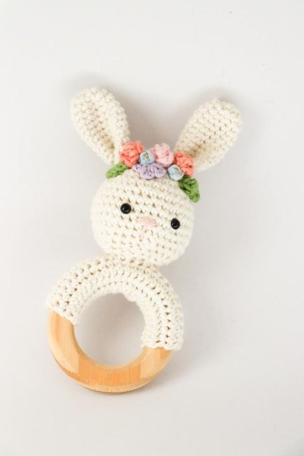 DIY Nursery Decor - Spring Bunny Rattle Crochet - Easy Projects to Make for Baby Room - Decorations for Boy and Girl Rooms, Unisex, Minimalist and Modern Nurseries and Rustic, Farmhouse Style - All White, Pink, Blue, Yellow and Green - Cribs, Bedding, Wall Art and Hangings, Rocking Chairs, Pillows, Changing Tables, Storage and Bassinet for Baby http://diyjoy.com/diy-nursery-decor