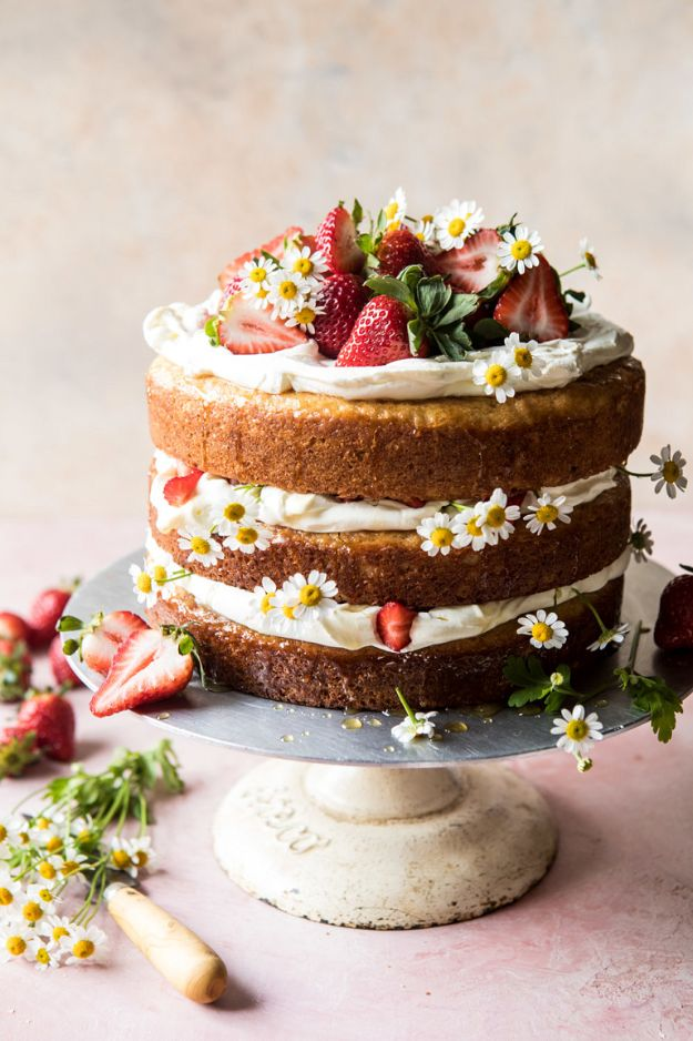 DIY Birthday Cakes - Strawberry Chamomile Naked Cake - How To Make A Birthday Cake With Step by Step Tutorial - Bake Homemade Cakes for Special Occasions and Birthdays With These Best Birthday Cake Recipes - Fancy Chocolate, Basic Vanilla Buttercream easy cakes recipes birthdays