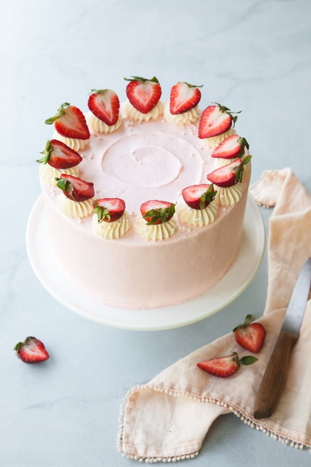 DIY Birthday Cakes - Strawberry Layer Cake - How To Make A Birthday Cake With Step by Step Tutorial - Bake Homemade Cakes for Special Occasions and Birthdays With These Best Birthday Cake Recipes - Fancy Chocolate, Basic Vanilla Buttercream easy cakes recipes birthdays