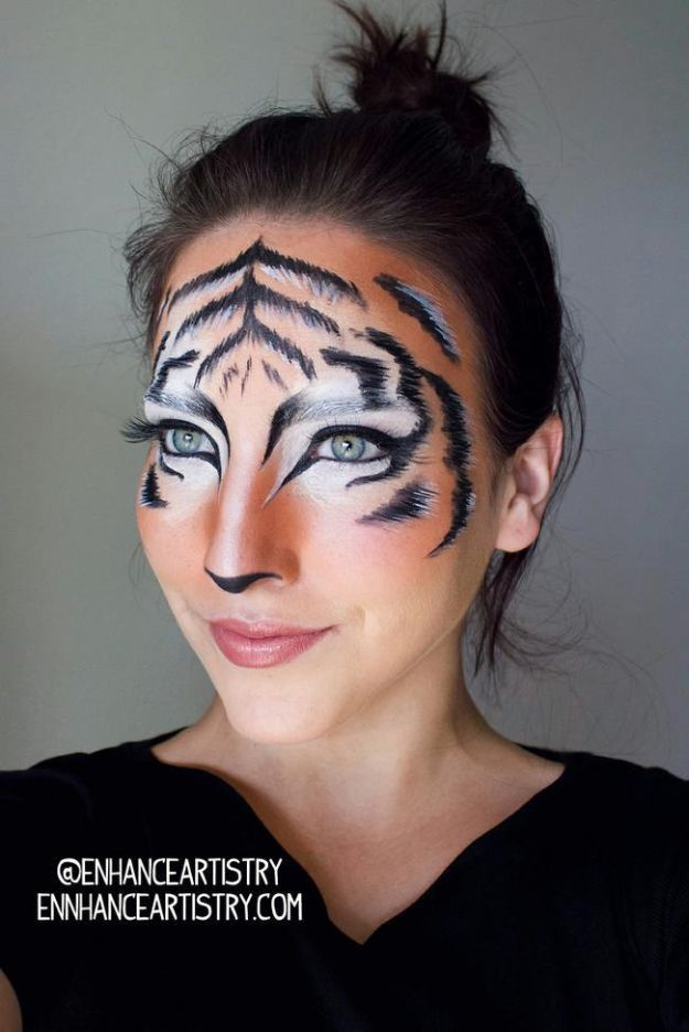 Best Halloween Makeup Tutorials - Tiger Halloween Makeup - Easy Makeup Tips and Tutorial Ideas for The Best Halloween Costume - Animals, Eyes, Creative Faces, Simple and Scary Ghosts, Skeletons and Creatures - Zombie Makeup, Cute Looks, DIY Vampire, Gypsy, Mermaid and Creepy Sugar Skull, Cool Glam Looks for A Halloween Party and Instagram Photos - Ideas for Couples and Kids http://diyjoy.com/best-halloween-makeup-tutorials