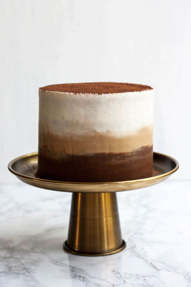DIY Birthday Cakes - Tiramisu Layer Cake - How To Make A Birthday Cake With Step by Step Tutorial - Bake Homemade Cakes for Special Occasions and Birthdays With These Best Birthday Cake Recipes - Fancy Chocolate, Basic Vanilla Buttercream easy cakes recipes birthdays