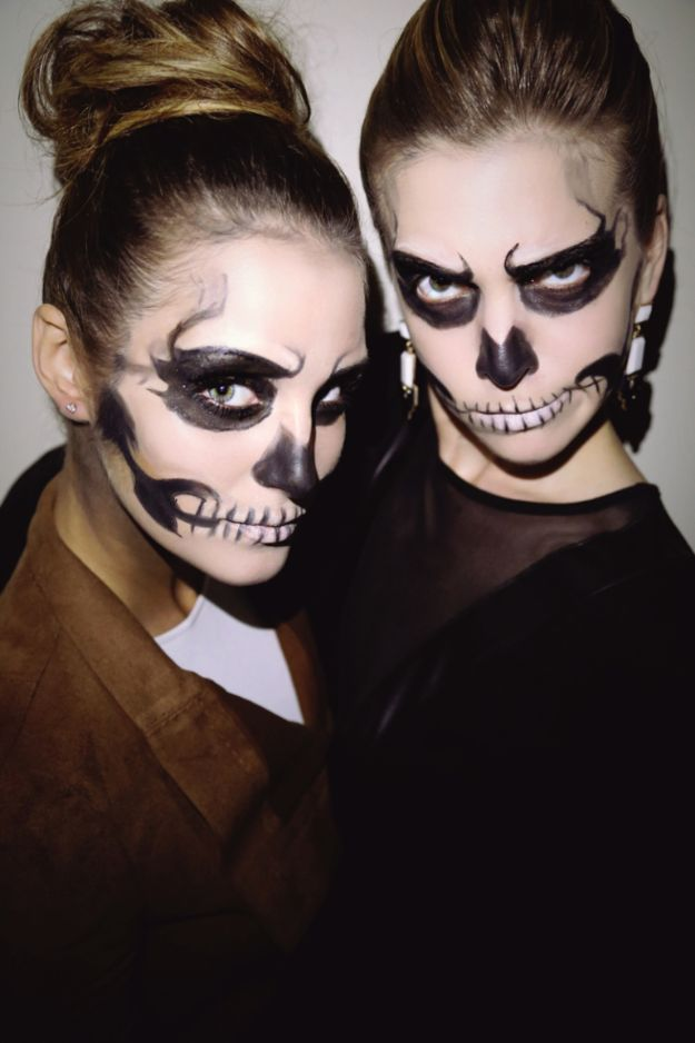 Best Halloween Makeup Tutorials - Totally Doable Glam Skeleton Halloween Makeup - Easy Makeup Tips and Tutorial Ideas for The Best Halloween Costume - Animals, Eyes, Creative Faces, Simple and Scary Ghosts, Skeletons and Creatures - Zombie Makeup, Cute Looks, DIY Vampire, Gypsy, Mermaid and Creepy Sugar Skull, Cool Glam Looks for A Halloween Party and Instagram Photos - Ideas for Couples and Kids http://diyjoy.com/best-halloween-makeup-tutorials