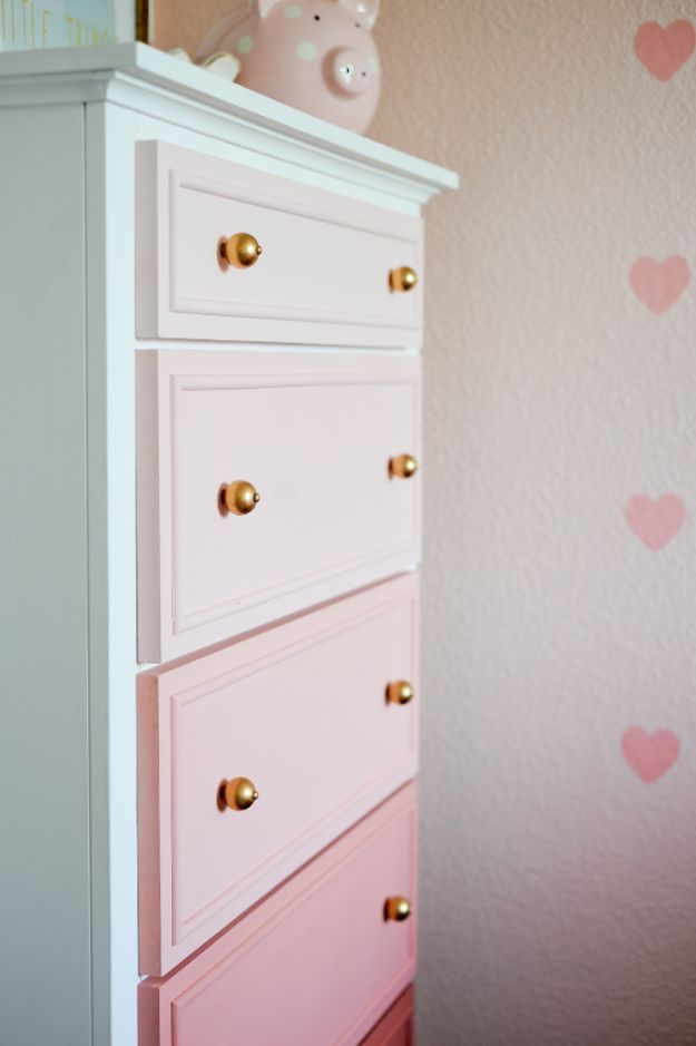 DIY Nursery Decor - Transform Your Old Dresser into an Ombre Masterpiece - Easy Projects to Make for Baby Room - Decorations for Boy and Girl Rooms, Unisex, Minimalist and Modern Nurseries and Rustic, Farmhouse Style - All White, Pink, Blue, Yellow and Green - Cribs, Bedding, Wall Art and Hangings, Rocking Chairs, Pillows, Changing Tables, Storage and Bassinet for Baby http://diyjoy.com/diy-nursery-decor