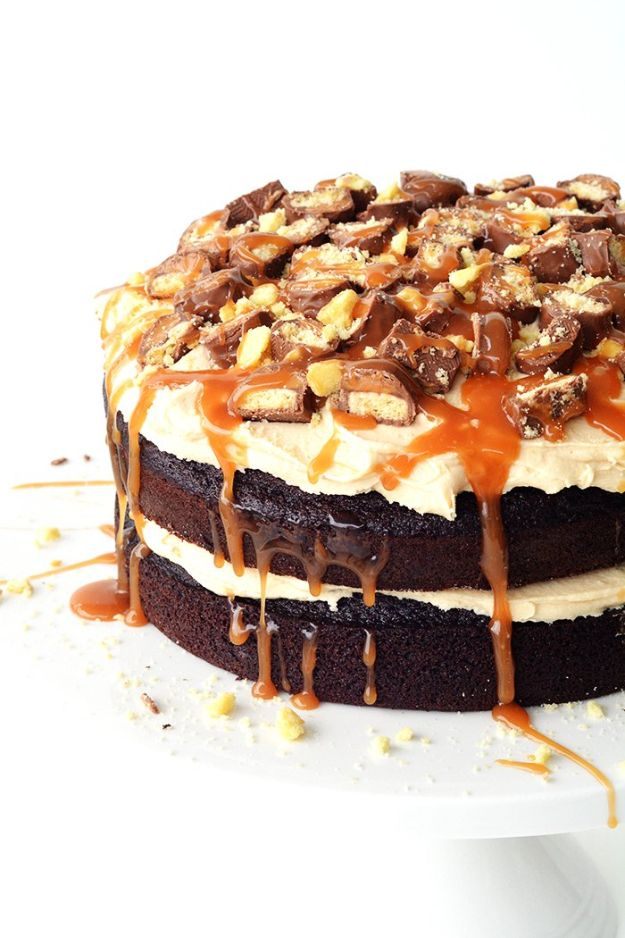 DIY Birthday Cakes - Twix Chocolate Layer Cake - How To Make A Birthday Cake With Step by Step Tutorial - Bake Homemade Cakes for Special Occasions and Birthdays With These Best Birthday Cake Recipes - Fancy Chocolate, Basic Vanilla Buttercream easy cakes recipes birthdays