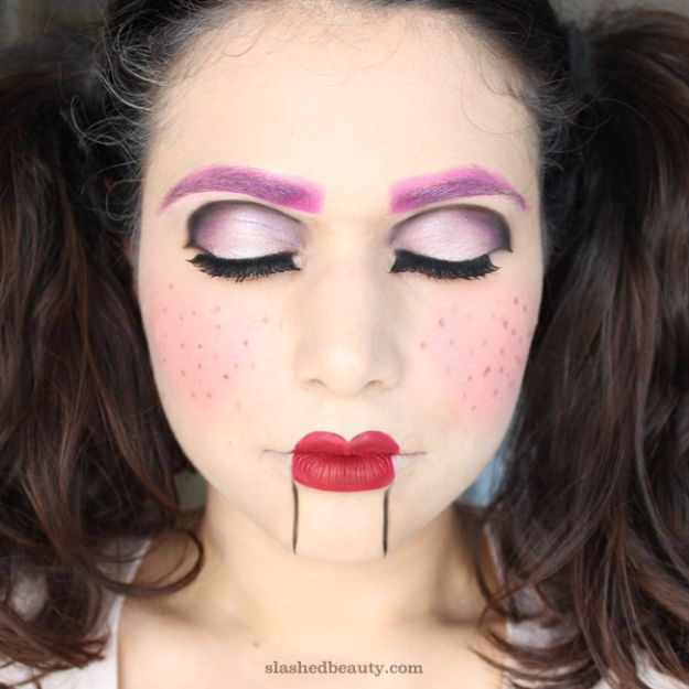 Best Halloween Makeup Tutorials - Ventriloquist Doll Halloween Makeup - Easy Makeup Tips and Tutorial Ideas for The Best Halloween Costume - Animals, Eyes, Creative Faces, Simple and Scary Ghosts, Skeletons and Creatures - Zombie Makeup, Cute Looks, DIY Vampire, Gypsy, Mermaid and Creepy Sugar Skull, Cool Glam Looks for A Halloween Party and Instagram Photos - Ideas for Couples and Kids http://diyjoy.com/best-halloween-makeup-tutorials