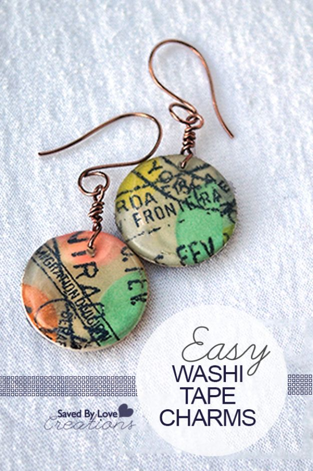 DIY Earrings - Washi Tape Earrings - Easy Earring Projects for Studs, Dangle, Hoops, Tassel, Wire Wrap Beads and Handmade Cuff - Vintage, Boho, Beaded, Leather, Fabric andCrochet Ideas - Cheap Gifts for Her - Homemade Jewelry Tutorials With Step By Step Instructions