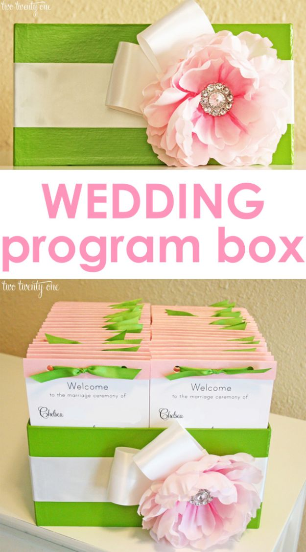 Dollar Tree Wedding Ideas - Wedding Program Box - Cheap and Easy Dollar Store Crafts from Your Local Dollar Tree Store - Inexpensive Wedding Decor for the Bride on A Budget - Crafts and Centerpieces, Guest Book, Favors and Decorations You Can Make for Weddings - Pretty, Creative Flowers, Table Decor, Place Cards, Signs and Event Planning Idea