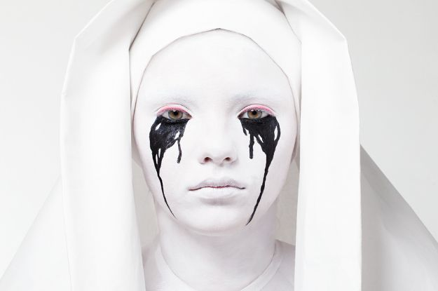 Best Halloween Makeup Tutorials - Weeping Nun Makeup - Easy Makeup Tips and Tutorial Ideas for The Best Halloween Costume - Animals, Eyes, Creative Faces, Simple and Scary Ghosts, Skeletons and Creatures - Zombie Makeup, Cute Looks, DIY Vampire, Gypsy, Mermaid and Creepy Sugar Skull, Cool Glam Looks for A Halloween Party and Instagram Photos - Ideas for Couples and Kids http://diyjoy.com/best-halloween-makeup-tutorials