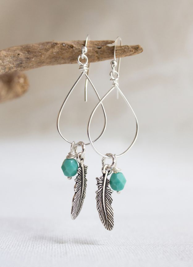 DIY Earrings - Wire-Wrapped Drop Earrings With Unusual Tools - Easy Earring Projects for Studs, Dangle, Hoops, Tassel, Wire Wrap Beads and Handmade Cuff - Vintage, Boho, Beaded, Leather, Fabric andCrochet Ideas - Cheap Gifts for Her - Homemade Jewelry Tutorials With Step By Step Instructions