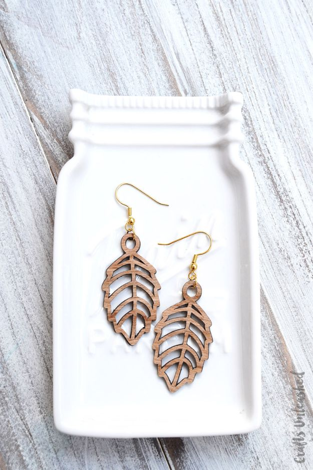 DIY Earrings - Wood Veneer DIY Leaf Earrings - Easy Earring Projects for Studs, Dangle, Hoops, Tassel, Wire Wrap Beads and Handmade Cuff - Vintage, Boho, Beaded, Leather, Fabric andCrochet Ideas - Cheap Gifts for Her - Homemade Jewelry Tutorials With Step By Step Instructions