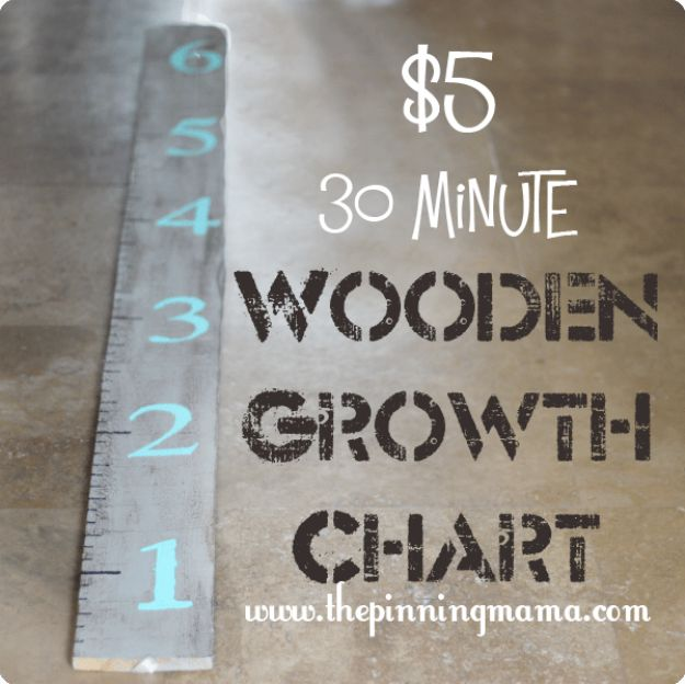 DIY Nursery Decor - Wooden Growth Chart - Easy Projects to Make for Baby Room - Decorations for Boy and Girl Rooms, Unisex, Minimalist and Modern Nurseries and Rustic, Farmhouse Style - All White, Pink, Blue, Yellow and Green - Cribs, Bedding, Wall Art and Hangings, Rocking Chairs, Pillows, Changing Tables, Storage and Bassinet for Baby #diybaby #babygifts #nurserydecor